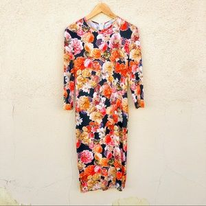 GIVENCHY Dark Gothic Floral Knee Length Dress 40/M